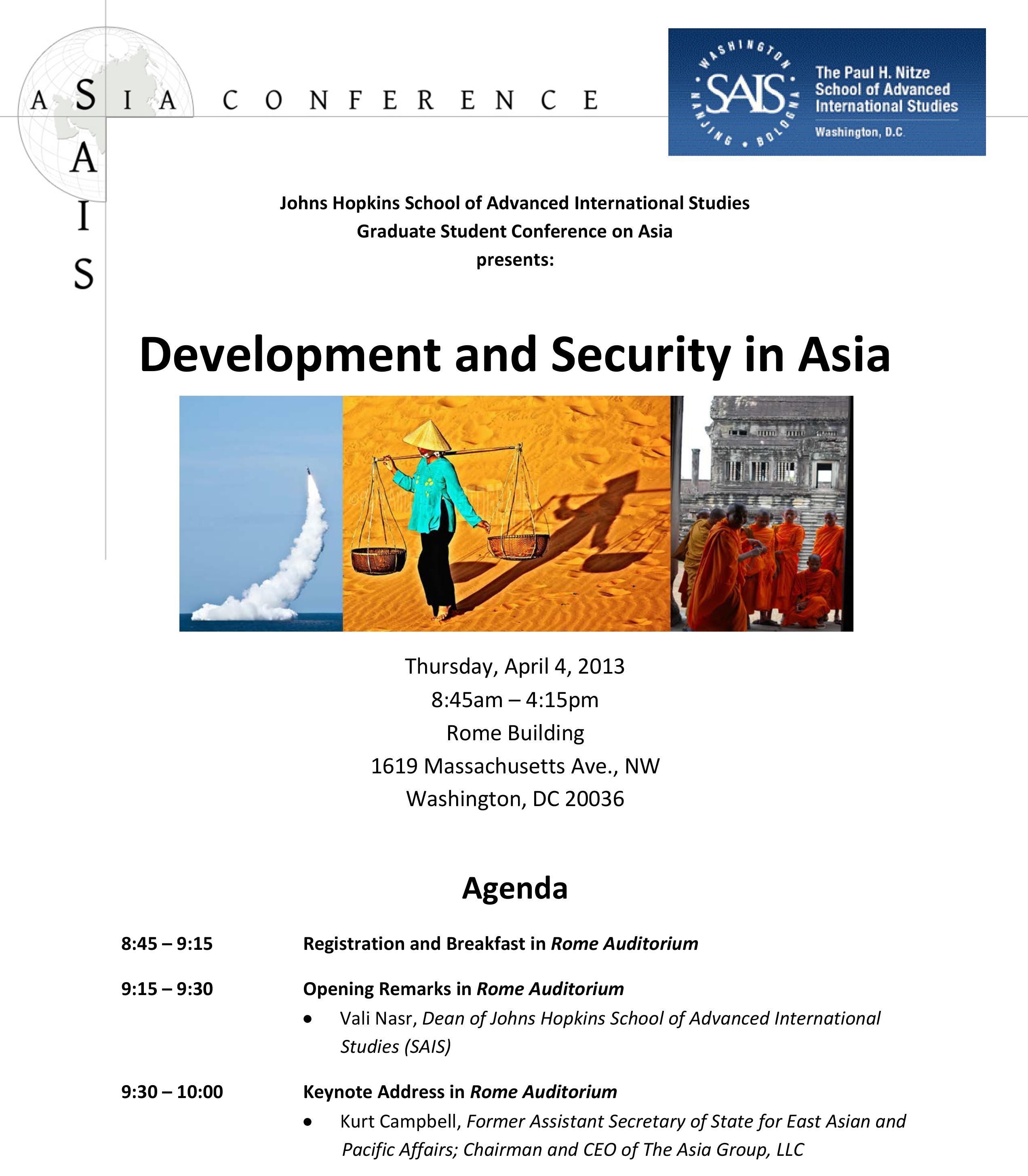 2013 Conference Agenda – The 2018 SAIS Asia Conference